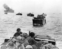 Landing craft containing Winnipeg Rifles head for the Normandy beaches.